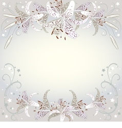Floral background of white lilia flowers vector