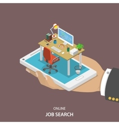 Online job searching isometric flat concept vector