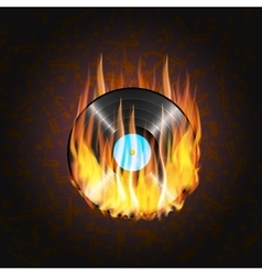 Vinyl record on fire a background of musical vector