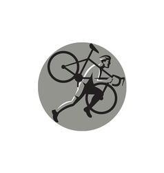 Cyclocross Athlete Carrying Bicycle Circle Retro vector image
