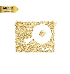 Gold glitter icon of dj mixer table vector