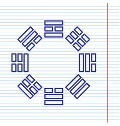 Bagua sign navy line icon on notebook vector