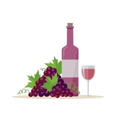 Bottle of Wine and Wineglass vector image vector image