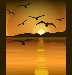 Bright yellow sunrise and sunset set vector