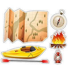 Camping sticker set with canoe and map vector