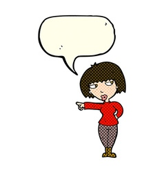 Cartoon annoyed woman pointing with speech bubble vector