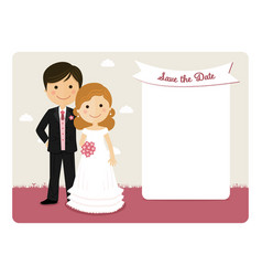 Cartoon wedding invitation with a smiling couple vector