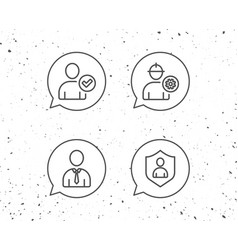 Check user engineer and businessman line icons vector