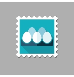 Chicken eggs in a tray flat stamp vector