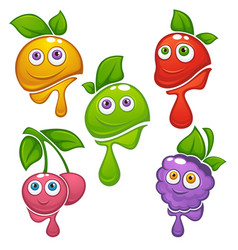 collection of fresh funny cartoon fruits and vector image