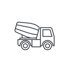 Concrete mixing truck thin line icon linear vector