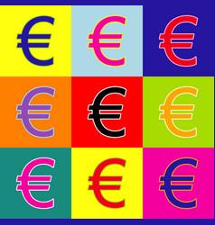 Euro sign pop-art style colorful icons vector