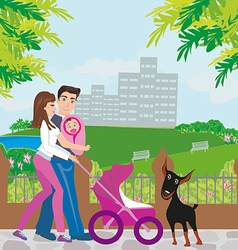 Family walk vector