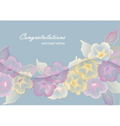 Floral template greeting card with pastel flowers vector image vector image