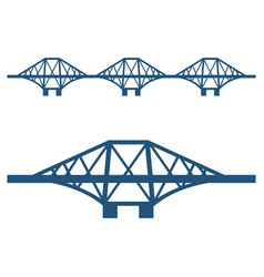 Forth bridge set of blue silhouette isolated on vector