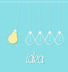 Hanging yellow light bulb switch on off lamp vector