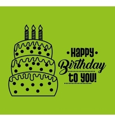 Happy birthday celebration card with cake vector