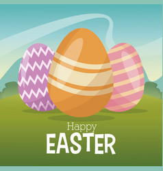 Happy easter card egg decoration landscape vector