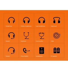 Headphones icons on orange background vector image vector image