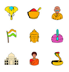 india icons set cartoon style vector image