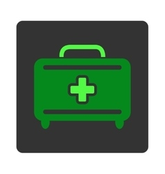 Medical baggage flat button vector