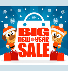 New year big sale background with funny animal vec vector