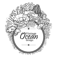 Ocean line art design vector