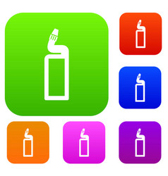 Plastic bottle of drain cleaner set collection vector