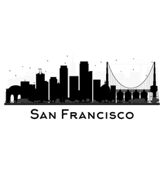 San Francisco skyline black and white silhouette vector image