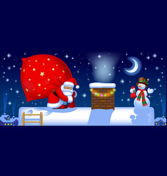 Santa claus with a sack on the roof vector