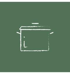 Saucepan icon drawn in chalk vector