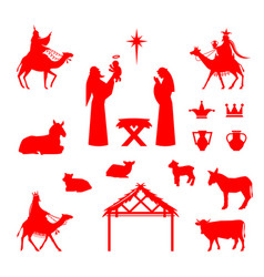 Scene of baby jesus in the manger vector