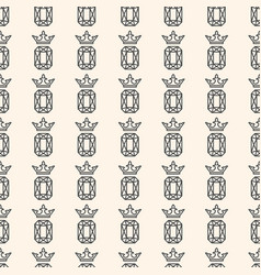 Seamless pattern with gemstone and crown vector