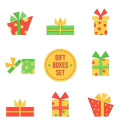 Set of cute flat design christmas gift boxes vector