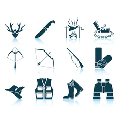 Set of hunting icons vector