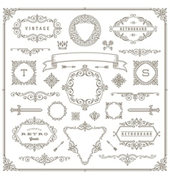 Set of vintage ornament design elements vector image vector image