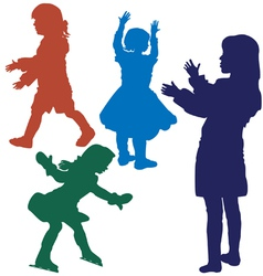 Silhouette of girls vector