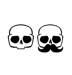 Skulls evil hipster with mustache vector