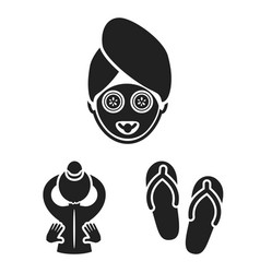 Spa salon and equipment black icons in set vector