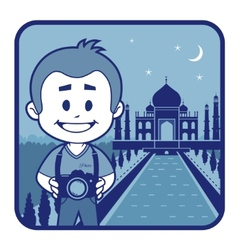 Teaser with photographer travels through india vector
