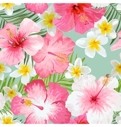 Tropical Flowers and Leaves Background vector image