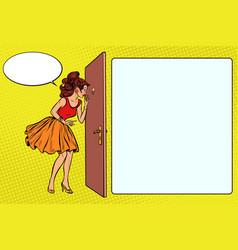 Woman peeking through the peephole vector