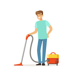 young smiling man cleaning the floor with vacuum vector image vector image