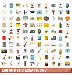 100 artistic essay icons set flat style vector