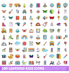 100 learning kids icons set cartoon style vector image vector image