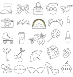 isolated icons of glamor stickers and vector image