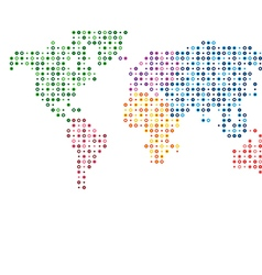 World map abstract colorful mosaic dotted vector