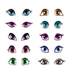 Cartoon girls eyes set vector