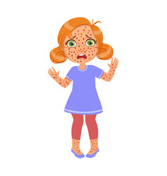 Girl with red pimples rushsick kid feeling unwell vector