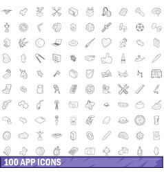 100 app icons set outline style vector image